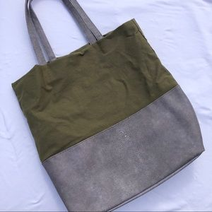 Army green, gray tote